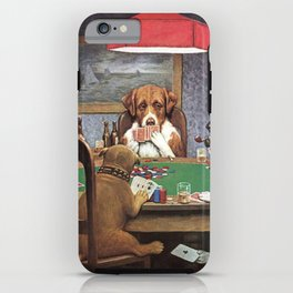 Dogs Playing Poker A Friend in Need Painting iPhone Case