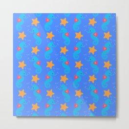 Blue Seahorses And Starfish Pattern Metal Print
