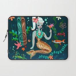 Blonde Leopard Martini Mermaid Laptop Sleeve