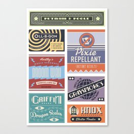 Wizarding Labels Canvas Print