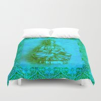 budi satria kwan Duvet Covers featuring Jade Kwan Yin by Jan4insight