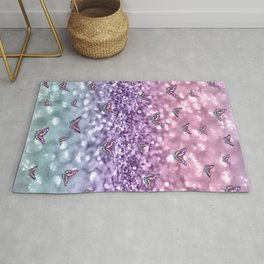 Pastel Unicorn Butterfly Glitter Dream #3 #shiny #decor #art #society6 Rug
