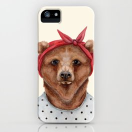 B is for a Brown Bear in a Bandana   Watercolor Animal   Art Print iPhone Case