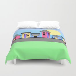 Pastel Daytime Houses Duvet Cover