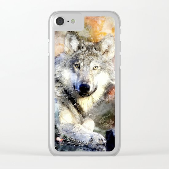 Wolf Animal Wild Nature-watercolor Illustration Clear iPhone Case