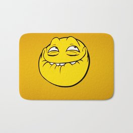 Meme Face Smiley Emoticon Yelow Funny Head Troll Bath Mat