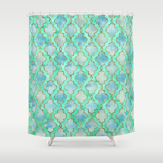 Luxury Aqua Teal Mint And Gold Oriental Quatrefoil Pattern Shower Curtain By