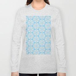 Shiny light blue winter star snowflakes pattern Long Sleeve T-shirt