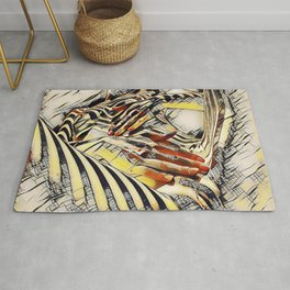 1177s-AK Erotica in the Style of Kandinsky Fingers on Pubis Striped Nude Rug