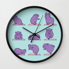 Baby Hippo Yoga Wall Clock