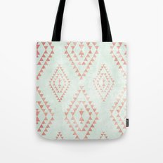 mint & coral tribal pattern Tote Bag