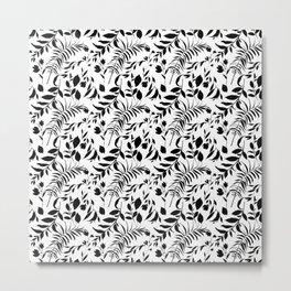 Black tropical floral leaves hand painted illustration Metal Print