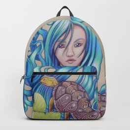 Blue Nova, Turtle Colored Pencil Drawing Backpack