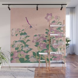 Dragonfly and Flowers Painting Vintage Art Wall Mural