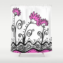 Three Spring Flowers - Pink Shower Curtain