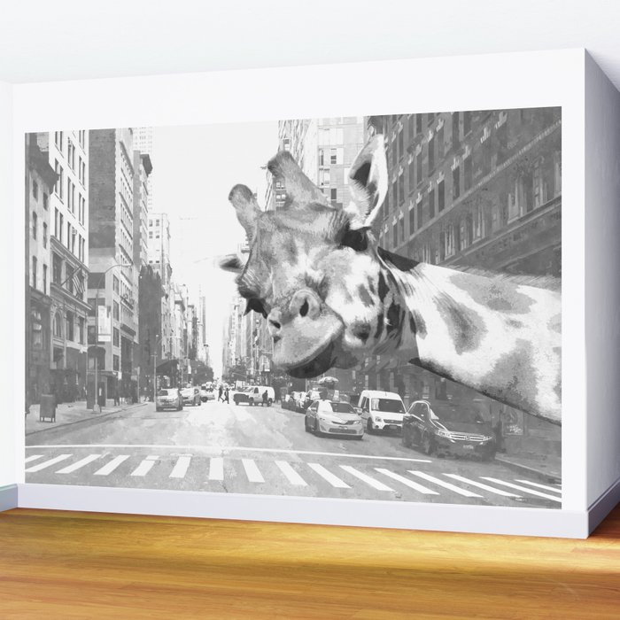 Black and White Selfie Giraffe in NYC Wall Mural