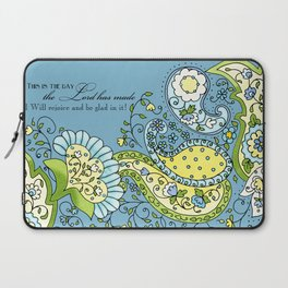 Hand Drawn Paisley Floral, Flower n Leaf Scroll Inspirational Text Laptop Sleeve