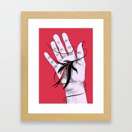 Disturbing Itch - Evil Monster Bites Hand Framed Art Print