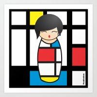 mondrian Art Prints featuring Kokeshi Mondrian by Pendientera