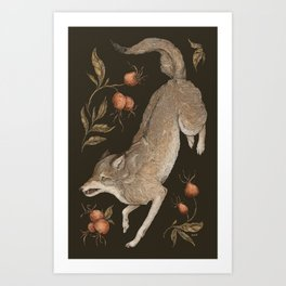 The Wolf and Rose Hips Art Print