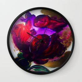 Purple and Gold Poppies Maybe? Wall Clock
