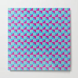 Aqua Pink and Blue Geometric Pattern Metal Print