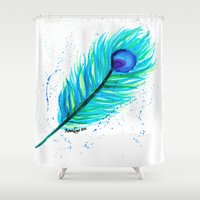indigo Shower Curtains featuring Indigo by N. Rogers Fine Art