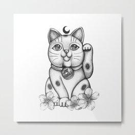 Maneki Neko  Cat Metal Print