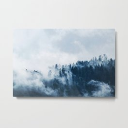 CLOUDS - WHITE - FOG - TREES - FOREST - LANDSCAPE - NATURE - TIMBER - WOODS - PHOTOGRAPHY Metal Print