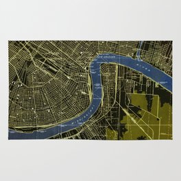 New Orleans Louisiana 1932 GREEN AND BLUE VINTAGE OLD MAP Rug