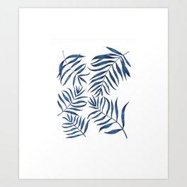 Blue Palm Leaves Art Print