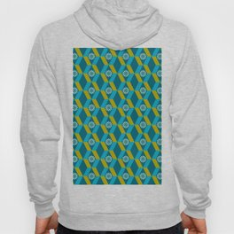 Mid Century Modern Flowers Optical Illusion Dark Teal Turquoise and Marigold Hoody