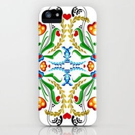 Scandinavian Folk Art ~ Tulip Mosaic iPhone Case