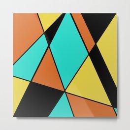 Aqua, Gold, Orange, and Black Geometric Design Metal Print