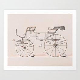Design for 2 seat Phaeton no.3035a 1874 Brewster Co // Retro Drawing Vehicle Transportation Art Print