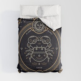 Cancer Zodiac Gold White with Black Background Comforters