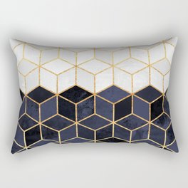 White & Navy Cubes Rectangular Pillow