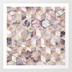 Blush Quartz Honeycomb Art Print