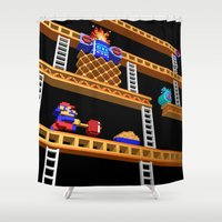 donkey kong Shower Curtains featuring Inside Donkey Kong stage 2 by Metin Seven