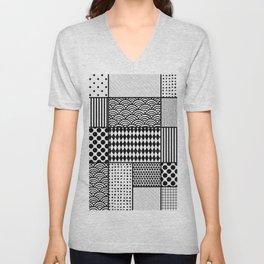 Black patterns in rectangles and squares Unisex V-Neck