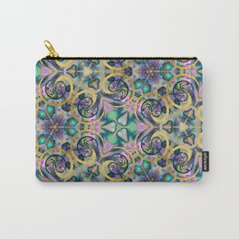 Abstract Gemstone and Gold Kaleidoscope Carry-All Pouch