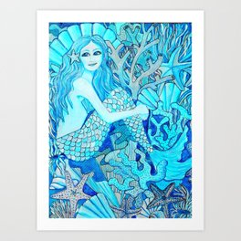Mermaid Watercolor Coral Reef Art Print