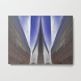 Architectural abstract of a metal clad building looming in symmetry. Metal Print