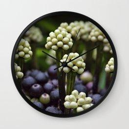 Green Aralia Flowers Wall Clock