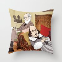 freud Throw Pillows featuring Freud analysing Shakespeare by Studio Drawgood