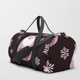 Pink Polar Bears Christmas Seamless Pattern Duffle Bag