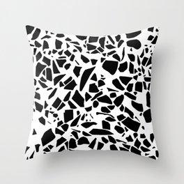 Terrazzo Black on White Throw Pillow