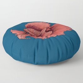 Coral Siamese fighting fish Floor Pillow