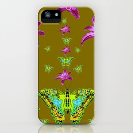 PURPLE LILIES BLUE-GREEN-YELLOW PATTERNED MOTHS iPhone Case
