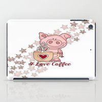 piglet iPad Cases featuring Piglet Loves Coffee by DMiller